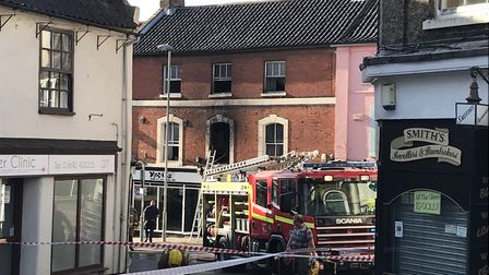 Firefighters at the scene of a blaze in North Walsham on July 28. Picture: MARK WATTS