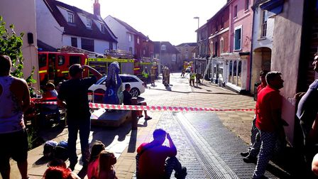 Emergency services on the scene of a fire in North Walsham. Picture: RICHARD BARR