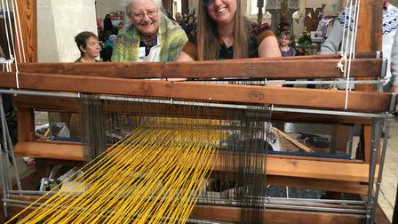 Margaret Gilham and Susan King from the Worstead Guild of Weavers, Spinners and Dyers at Worstead ch
