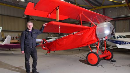 Peter Brueggemann, pictured in 2016, has created a replica of The Red Baron's First World War flying
