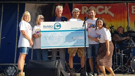 At the Rock Bodham cheque presentation were, from left, Jane Sadler, Barbara Emery, Christopher Bush