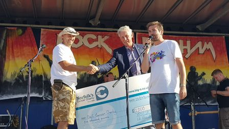 At the Rock Bodham cheque presentation were, from left, Darryl Biss from Rock Bodham, Christopher Bu