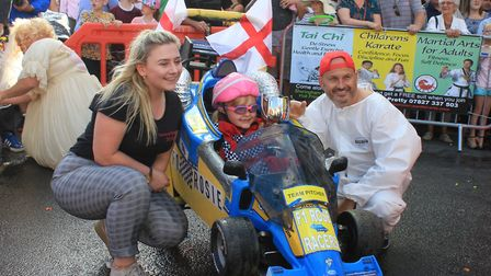 Sheringham Carnival queen Mollie Gallon with best overall winners Roseanne and Kevin Pitcher.Photo: