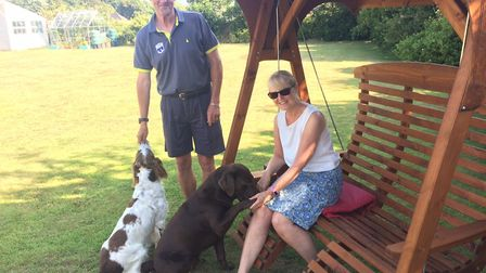 David Greer is back home in Mundesley with his wife Marie and dogs, Finn and Dexter. Picture: David