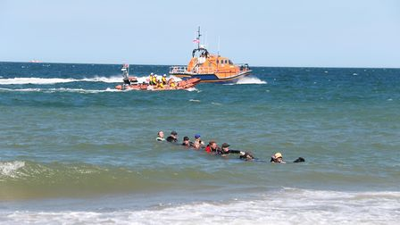 Happisburgh Lifeboat Day. Cromer & Happisburgh lifeboats with Newfoundland Rescue Dogs Pictures: RN