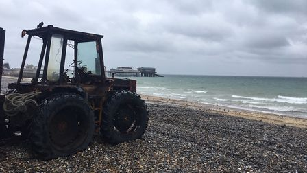 A tractor on Cromer beach. Picture: STUART ANDERSON