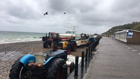 Tractors on Cromer beach. Picture: STUART ANDERSON