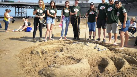 A sand drawing of the British Isles was created on the beach at Cromer. A team from Nottinghamshire