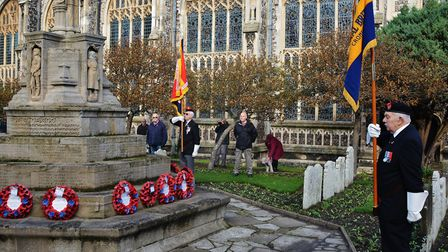 Standard bearers gather at Cromer war memorial for the service in 2016. Picture: Dave 'Hubba' Robert