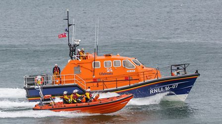 Cromer and Sheringham lifeboats working together to stage a rescue at Sheringham lifeboat day.Photo: