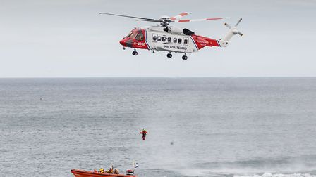 The dramatic helicopter 'rescue' staged as part of Sheringham lifeboat day.Photo: www.aerovisuals.co