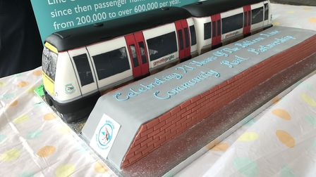 The cake to mark the Bittern Line anniversary at Norwich Railway Station. Picture: ARCHANT