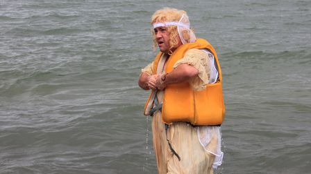 'Bride' Kevin Webb, who ended up in the water while taking part in Sheringham Carnival raft race.Pho