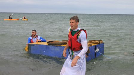 Sheringham Carnival raft race.Photo: KAREN BETHELL