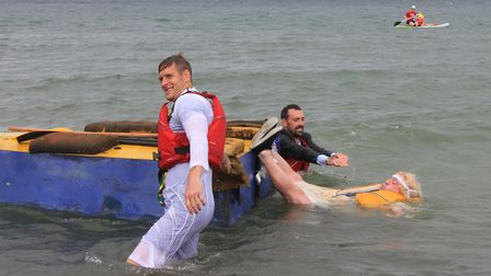 'Bride' Kevin Webb gets a dunking at Sheringham Carnival raft race.Photo: KAREN BETHELL