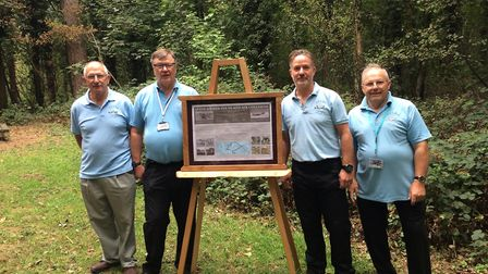 Unveiling of memorial at Holt Country Park. L-R, Dennis Woodcock, David Calver, Nigel Woodcock and B