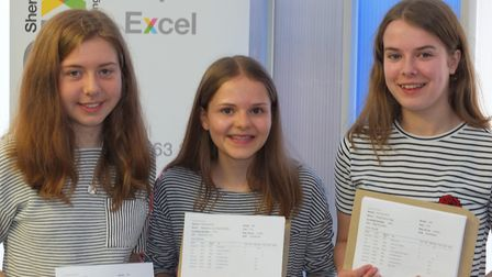Sheringham Sixth students Anna Brady, Maddie Wright and Kelsey Pegg (L to R). Picture: Andrew Richar