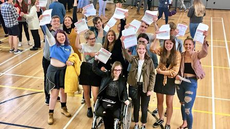 Students celebrating their A-level results at Paston College in North Walsham. Photo: Jessica Frank-