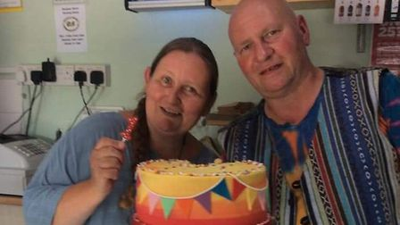 Naomi and Alan Katze celebrating the first anniversary of the Rainbow Stores and Deli. Photo: Naomi