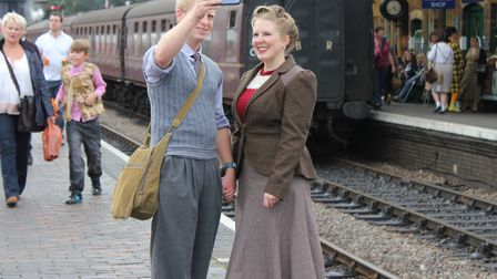 A 1940s couple snap a selfie on Sheringham station in 2013.Photo: KAREN BETHELL