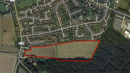The site of the proposed residential development in Holt. Pictures: Gladman Developments