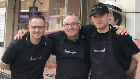 Icarus Hines is stepping down from his butcher shop after 33 years. L-R: Jake Wright, Icarus Hines,