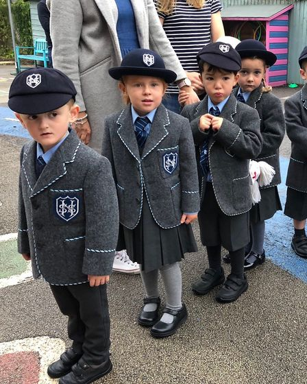 Reception pupils arriving for their first day of school at St Nicholas House School in North Walsha