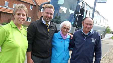 Christine Candlish of Victory Housing Trust (left) with organisers of the Catfield Shopper Bus. Pict