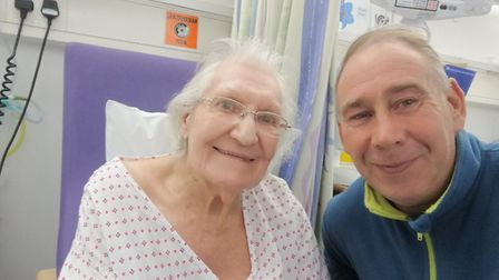 Margaret Parish with her son David at the Norfolk and Norwich University Hospital (NNUH) in December