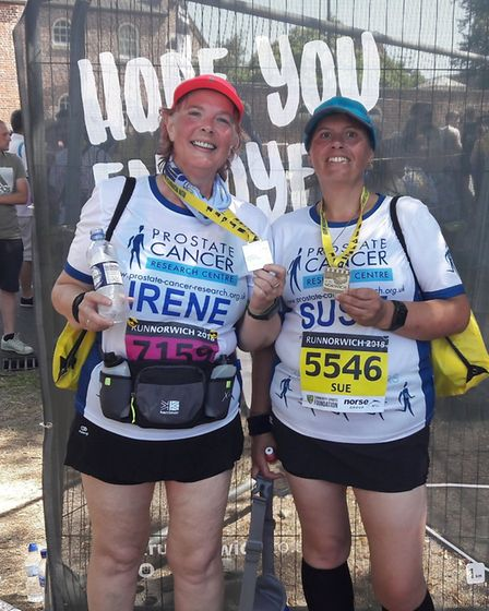 Mrs Brown and Mrs Bond at the Run Norwich 10k. Photo: PCRC Runsters