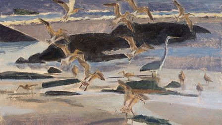 Ebbing Tide, Curlews and Heron, by wildlife artist Robert Greenhalf, whose work will be on show as p