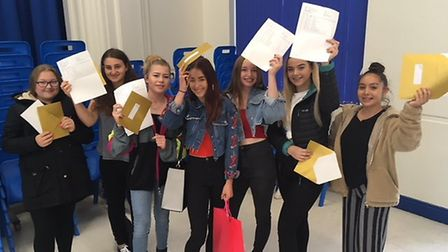 Cromer Academy GCSE students celebrate their results. Picture: STUART ANDERSON