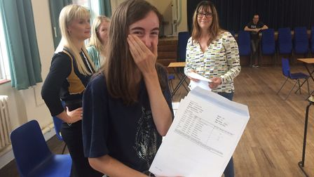 Stalham High School GCSE results. Fenella Hawes can't hold back the tears of joy. Pictures: David Ba