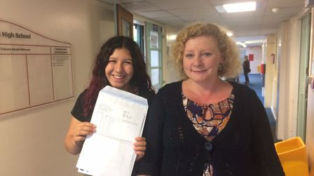 Stalham High School GCSE results. Grace Howitt, left, with head of English Justyna Rollason. Picture