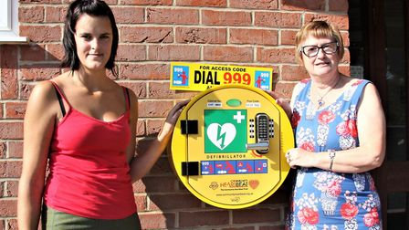 Charlotte Watlow, left, and Diana Howes with Honing's new defibrilator.Picture: MAURICE GRAY