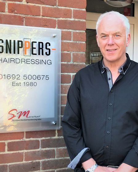 Shaun Marshall at Snippers in North Walsham. Picture: SUPPLIED BY SNIPPERS