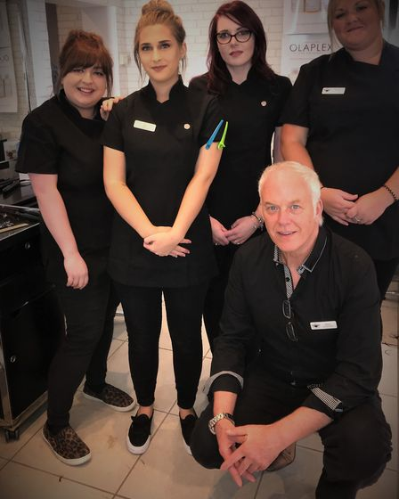 Shaun Marshall with the team at Snippers in North Walsham. Picture: SUPPLIED BY SNIPPERS