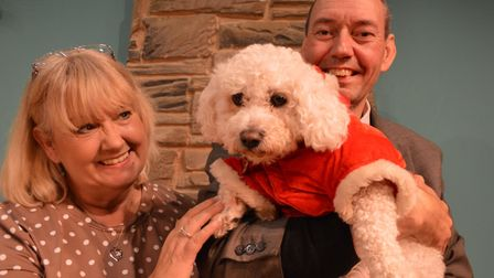 Maisie the dog at Sheringham Little Theatre rehearsals with owners Tricia Allan and Tim Wardley. Pic