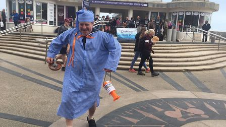 Andreas Yiasimi dressed as Wee Willie WInkie to raise awareness of Seal and Shore Watch. Picture: ST
