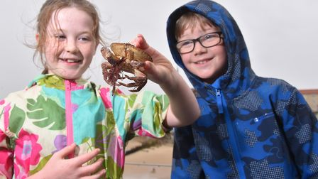 Abigail and Joseph Brumpton with a crab caught during the World crabbing championships off Cromer Pi