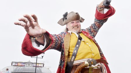 Andreas the Pirate at the World crabbing championships off Cromer Pier.Picture: Nick Butcher
