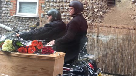 Funeral service on motorbikes. Pictures: supplied by Adrian Amis