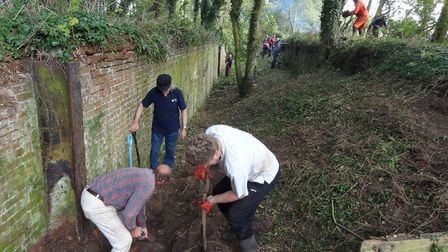 Volunteers at work on one of the secret Swafield locks. Pictures: North Walsham and Dilham Canal Tru