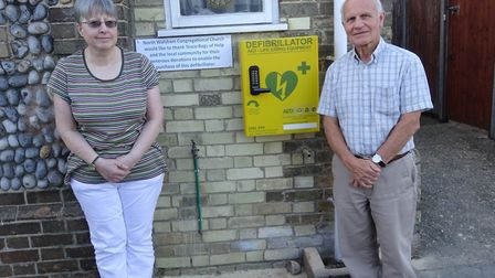 Cromer Road Congregational Church secretary Anna Davies and deacon David Poore with the newly instal