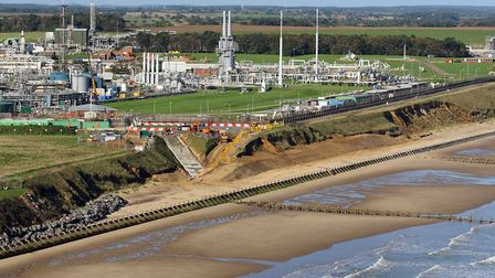 Aerial view of Bacton, Date: Oct 2015. Picture: Mike Page