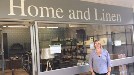 Joanne Cannon outside Home and Linen, which opens in St Nicholas Court, North Walsham tomorrow. Pic