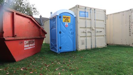 The equippment being stored on their neighbourhood green in the middle of Tenison Road and Nelson Ro