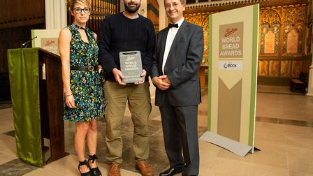 Norfolk bakery wins award. Left to right: Ann Wells, of Brook Food, Ed Clark, of Pastonacre, and Ste