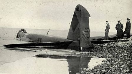 The Junkers bomber after it crash landed on the beach west of Sheringham. Picture: SUPPLIED BY THE M