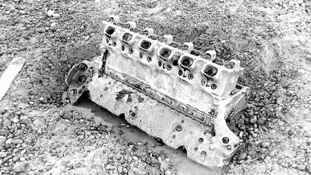 Part of the engine of the Junkers Ju 88 bomber from the Second World War, as seen in the early 1970s